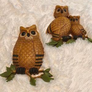 Set of Vintage Wall Hanging Homco Owls